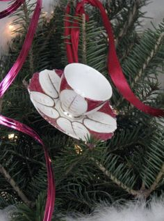 Vintage Christmas Ornament Teacup and Saucer by FingerLakesFinds, $8.00