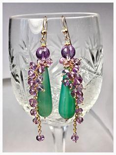 Small Earrings, Beaded Earrings, Chandelier Earrings, Gemstone Jewelry, Beaded Jewelry, Fine Jewelry, Jewelry Making, Cluster, Amethyst Earrings