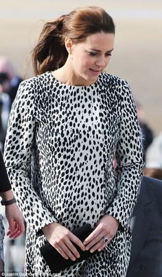 Looking good: The Duchess was resplendent in a Dalmatian coat by Hobbs...