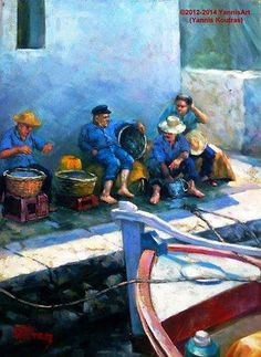 Greek Fishermen - Oil Painting on canvas, Original Handmade Realism, Nature Painting by the Artist Yannis Koutras Natural Hair Brush, Nature Paintings, Oil Paintings, Greek Art, Oil Painting On Canvas, Canvas Frame, The Originals, Artist, Handmade