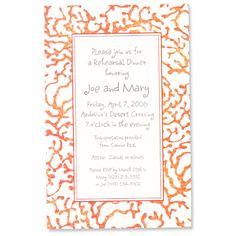 Citrus coral paper invitation