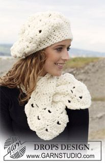 """DROPS crochet Basque hat and scarf with shell pattern in """"Eskimo"""". ~ DROPS Design"""