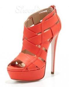 2013 New Arrival #Orange PU #Peep Toe High #Heel #Shoes from Picsity.com