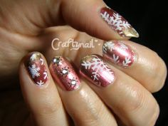 snowflake stamped nails using MoYou London's Festive Plate 03