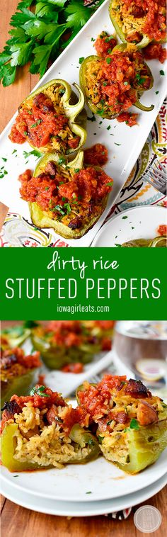 Dirty+Rice+Stuffed+Peppers+with+Red+Sauce+are+healthy+and+satisfying!+#glutenfree+|+iowagirleats.com