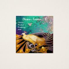 ELEGANT YELLOW PEACOCK AND GREEN FLORAL LEAVES SQUARE BUSINESS CARD #fashion #beauty #gemstones #jewels #jewelry #art