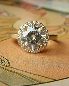 Halo Engagement Ring with Moissanite Stone - PERFECT!!