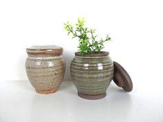 Mid Century Modern Studio Pottery Jars, Vintage Stoneware Small Lidded Jar, Pottery Stash Jar Set Of 2 by HerVintageCrush on Etsy