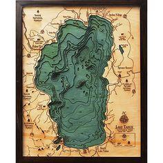 Small Lake Tahoe, California Nevada Small 3D Nautical Carved Wood Map $125