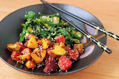 Sesame Roasted Beets and Greens | One Green Planet