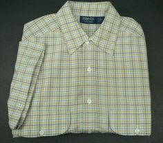 PROFILE Mens shirt  L Free Shipping plaid SS short sleeve FS  #Profile #ButtonFront