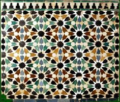 Tile from the Alhambra, Andalusia Spain Islamic Art Pattern, Pattern Art, Geometric Designs, Geometric Art, Islamic Tiles, Arabesque Pattern, Arabic Design, Ceiling Art, Spanish Tile