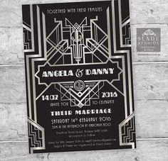 Great Gatsby 1920s Art Deco Wedding Invitation Set in Silver & Black. Printable Art Deco roaring 1920s Party Invitation, RSVP, Wedding Card