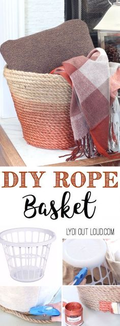 Make a beautiful DIY Metallic Ombre Basket is made out of a dollar store laundry basket! DIY Rope Basket Tutorial Lydi Out Loud - The BEST Do it Yourself Gifts - Fun, Clever and Unique DIY Craft Projects and Ideas for Christmas, Birthdays, Thank You or Diy Craft Projects, Home Projects, Home Crafts, Crafts To Make, Project Ideas, Craft Ideas, Crafts Cheap, Diy Ideas, Furniture Projects