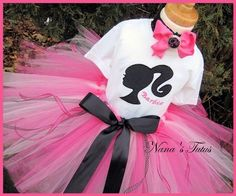 Rachel's Birthday outfit...only her tutu has silver and black in it and the shirt also...Haylie has the shirt! They are going to be so cute at their party!!