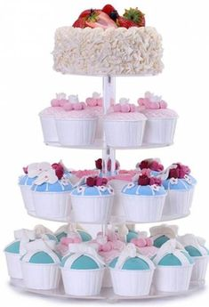 BonNoces 4 Tier Acrylic Glass Round Cupcake Stands Tower - Tiered Cupcake Carrier - Clear Display Holder Tree - Tiered Pastry Stand Dessert Stands Wedding Cake Stands For Wedding Party Wilton Cupcake Stand, Cupcake Stands, Acrylic Cake Stands, Cupcake Carrier, Cupcake Tree, Cake Stand With Dome, Latte, Vintage Cake Stands, Brunch Decor