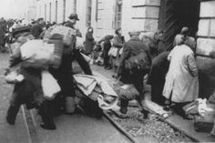 Arrival of a transport of Dutch Jews in the Theresienstadt ghetto. February 1944.