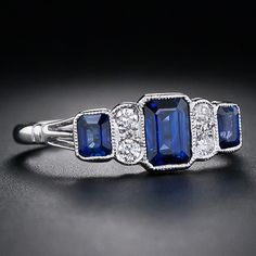 Sapphire and Diamond Art Deco Style Ring - 30-1-4902 - Lang Antiques