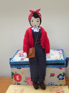 1940s Looks, White Cotton Blouse, Land Girls, Little Doll, Little Darlings, Cute Gifts, Blue Flowers, Her Hair, Art Dolls
