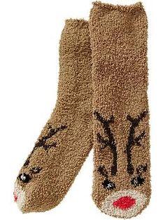 Reindeer (fuzzy) socks -Old Navy Fluffy Socks, Cozy Socks, Cabin Socks, Knee High Socks Outfit, Kids Socks, Silly Socks, Kawaii, Sock Shoes, Leggings