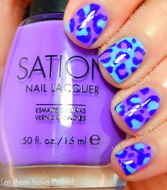 Blue & purple leopard mani