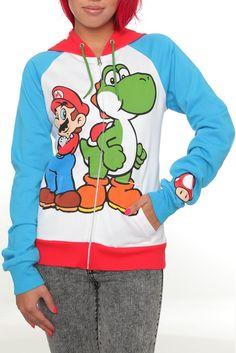 Nintendo Super Mario Bros. Mario And Yoshi Zip Girls Hoodie Size : Small