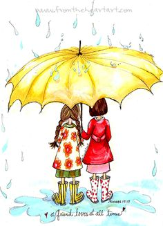 Friends With Umbrella Print (Proverbs 17:17)