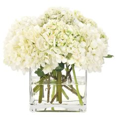 I have fake green hydrangeas on my dining table with a vase like this and they look real. Love it!