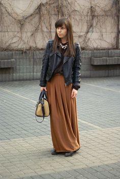 Long skirt + leather jacket