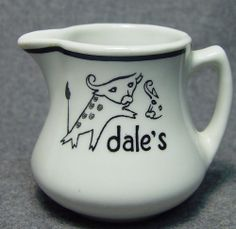 Dale's Restaurant Hotel Club Cow Steer Logo Advertising China Creamer