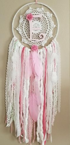 Custom Initial Dream Catcher, Baby Girl Pink Nursery Decor, Boho Dream Catcher Decor, Wall Hanging, Girls Bedroom Decor by AMysticalGypsy on Etsy Dream Catcher Bedroom, Dream Catcher Pink, Dream Catcher Decor, Lace Dream Catchers, Boho Chic, Shabby Chic, Girl Nursery, Nursery Decor, Girls Bedroom