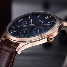 977a6f65e68 New ultra slim Top brand Quartz Watch Casual Business JAPAN SINOBI Genuine  Leather Analog Watch Men s Relogio Masculino gift