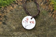 Pink Blossom Imprinted Round Ceramic Pendant on Hemp Cord Ceramic Pendant, Ceramic Jewelry, Pink Blossom, Hand Shapes, White Clay, Summer Days, Hemp, Washer Necklace, Cord