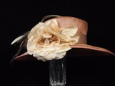 Copper Hat with Rose & Feathers by HatTrix on Etsy Cowboy Hats, Copper, Rose, Feathers, Clothes, Outfits, Pink, Roses, Feather