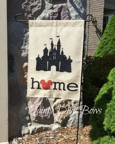 Burlap Garden Flag, Disney Garden Flag, Disney Flag, Burlap Flag, Personalized Garden Flag, Yard Art, New Home Gift, Disney Gift