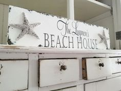 PERSONALIZED BEACH HOUSE SIGN with STARFISH ACCENTS | CNS-27 Beach House Names, Beach House Signs, Beach House Decor, Home Signs, Home Decor, Beach Houses, Vintage Pink, Shabby Chic Signs, Rustic Lake Houses