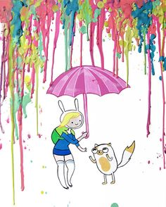 Fionna and Cake - Adventure Time Art Print  -  Pastel - Teens - Crayon Art - Melted