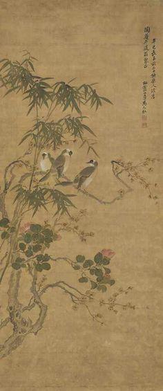 MA YUANYU (1669-1722) Birds and Flowers Hanging scroll, ink and colour on silk 124.5 x 52.7 cm. (69 1/4 x 20 3/4 in.) 清 馬元馭 喜上梅梢 設色絹本 立軸 一七零一年作 題識: 辛巳(1701年)長至前二日橅宋人法, 為(陶菴)年道翁粲正。栖霞山房馬元馭。 鈐印:馬元馭印、扶羲 藏印:劉恕(1759-1816):劉氏寒碧莊印