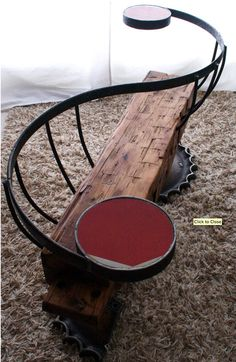 Really cool homemade bench! This would be awesome in our garden! In the olden days it was called a courtship bench or a lovers bench. It's cute.
