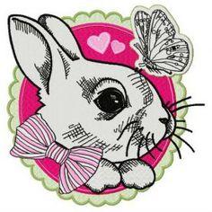 White bunny 2 machine embroidery design. Machine embroidery design. www.embroideres.com