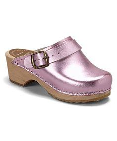 Pink Metallic Leather Clog - Kids #zulily #zulilyfinds