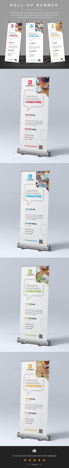 Corporate Roll-Up Banner Template PSD - Graphic Templates Cool Business Cards, Business Card Design, Roll Up Design, Ad Design, Flyer Design, Logo Design, Rollup Banner Design, Standing Banner Design, Free Printable Business Cards