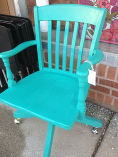 Turquoise vintage wood office chair — Fixed price $99