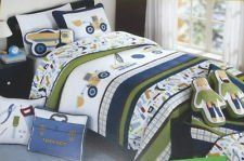 """Boy Zone Trucks & Tools Twin Quilt by Boy Zone. $119.99. Boy Zone Twin Quilt; Trucks and Tools Design; 100% Cotton; 68"""" x 86"""". Includes one (1) twin quilt 68 x 86. Face cloth 100% natural cotton. Prewashed for out of the bag comfort. Washing instructions: machine wash cold and tumble dry. Made in China."""
