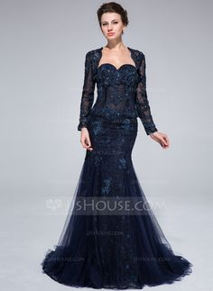 Evening Dresses - $189.99 - Mermaid Sweetheart Sweep Train Tulle Evening Dress With Lace Beading Flower(s) (017025320) http://jjshouse.com/Mermaid-Sweetheart-Sweep-Train-Tulle-Evening-Dress-With-Lace-Beading-Flower-S-017025320-g25320?ver=xdegc7h0