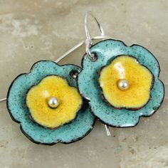 Sunny Yellow Robins Egg Blue Floral Earrings Copper Enamel