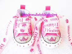 Baby Bling Infant Crystal Princess Tiara Chuck Taylor Pink Infant Converse Sneakers on Etsy, $79.99