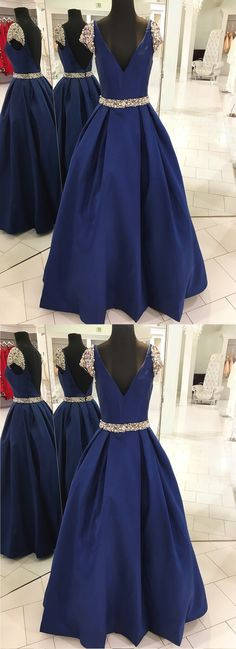 Navy blue V neck long pearl spring open back prom dress with cap sleeves - Thumbnail 1