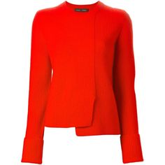 Proenza Schouler Asymmetric Sweater ($404) ❤ liked on Polyvore featuring tops, sweaters, red, proenza schouler, asymmetrical hem sweater, proenza schouler top, red sweater and red long sleeve top