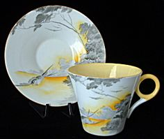 Shelley Art Deco Cup And Saucer Lakeland Regent Yellow (Image1)